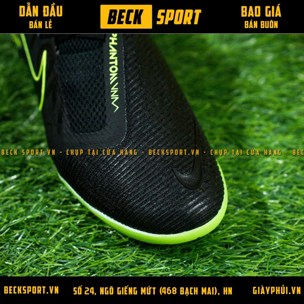 Giày Bóng Đá Nike Zoom Phantom VNM Pro Đen Đế Xanh Lá Giấu Dây IC