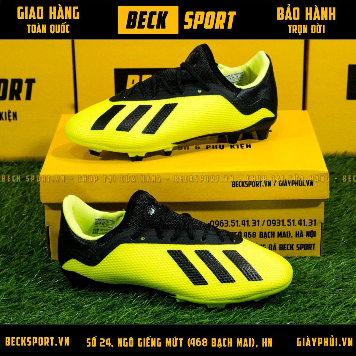 Giày Bóng Đá Trẻ Em Adidas X 18.3 Nõn Chuối Vạch Đen FG