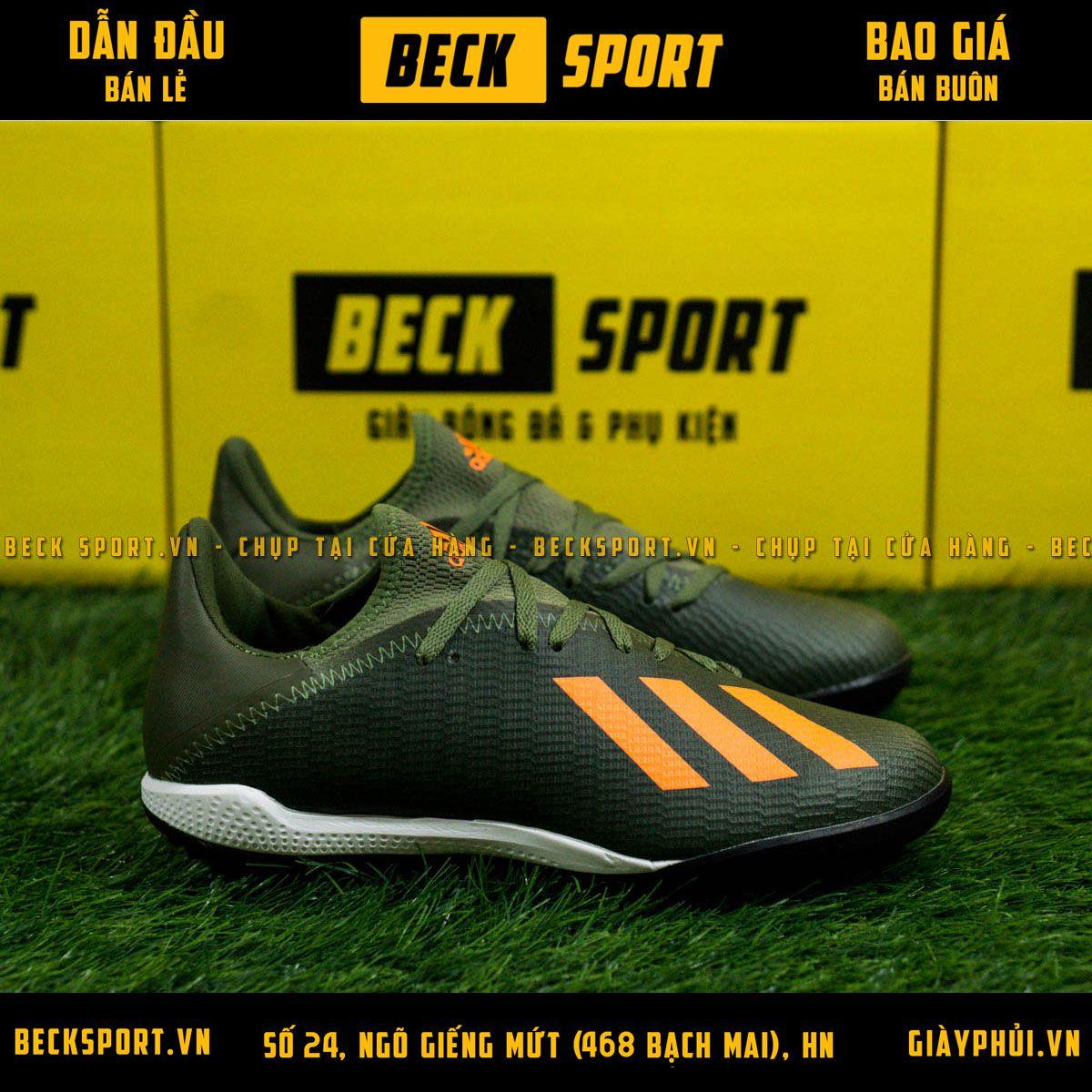 Giày Bóng Đá Adidas X 19.3 Xanh Rêu Vạch Cam HQ TF