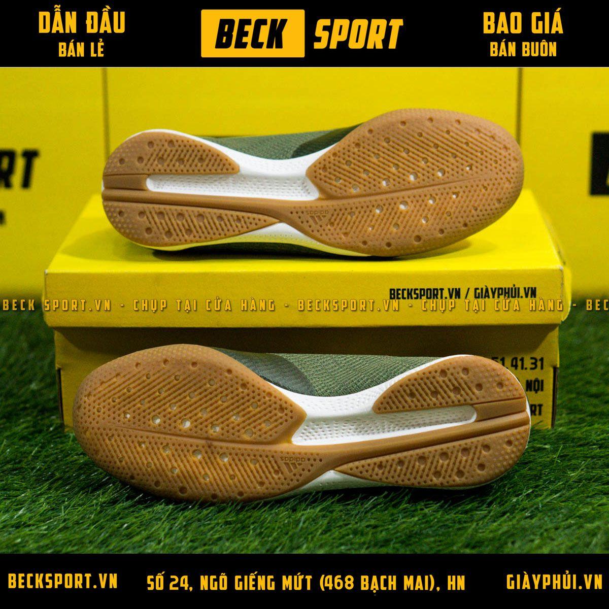 Giày Bóng Đá Adidas X 19.3 Xanh Rêu Vạch Cam HQ IC