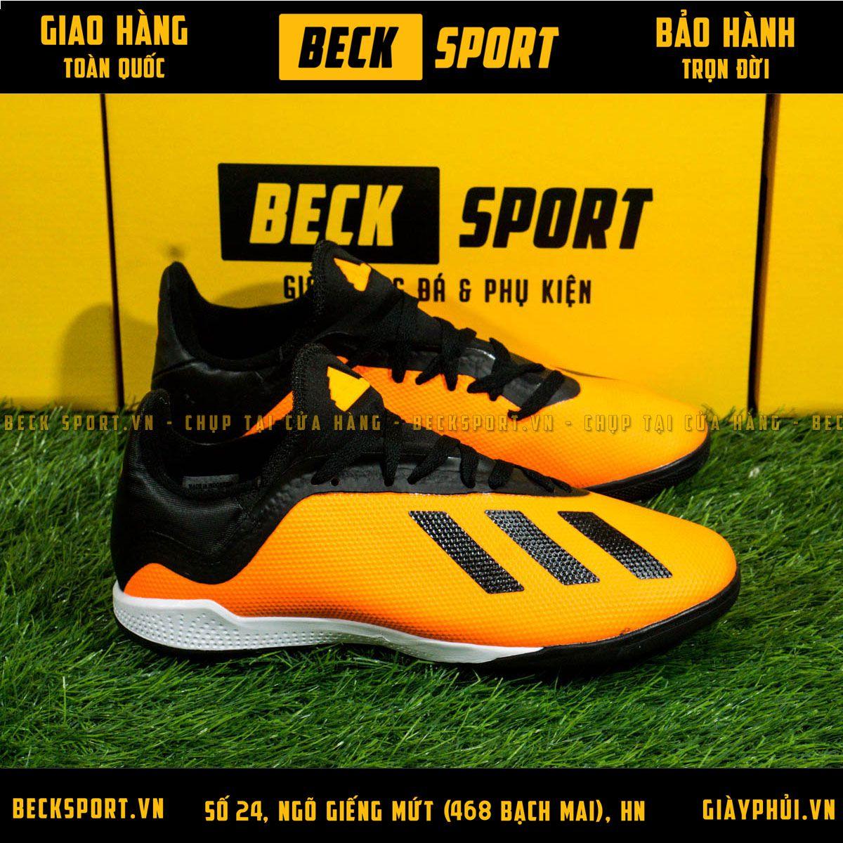 Giày Bóng Đá Adidas X  18.3 Cam Vạch Đen Đế Đen TF