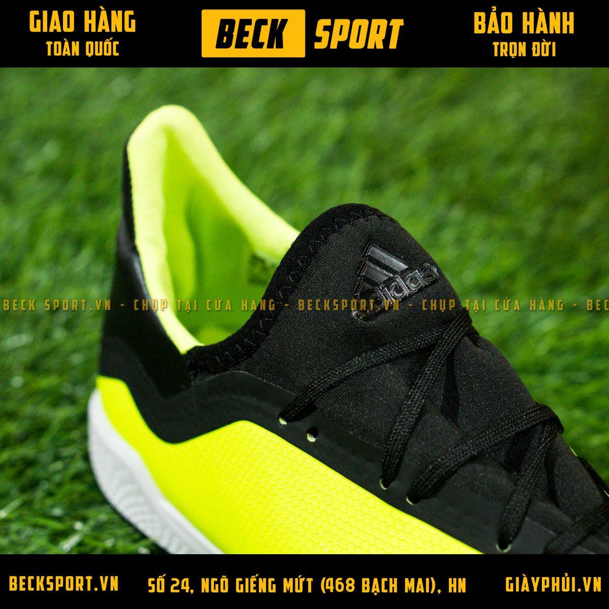Giày Bóng Đá Adidas X 18.3 Nõn Chuối Vạch Đen Cổ Đen TF