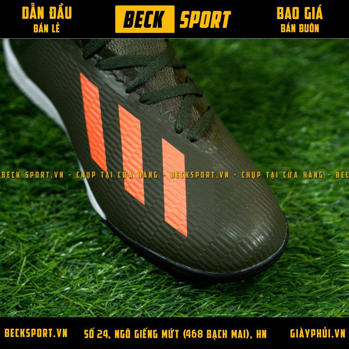 Giày Bóng Đá Adidas X 18.3 Xanh Rêu Vạch Cam TF