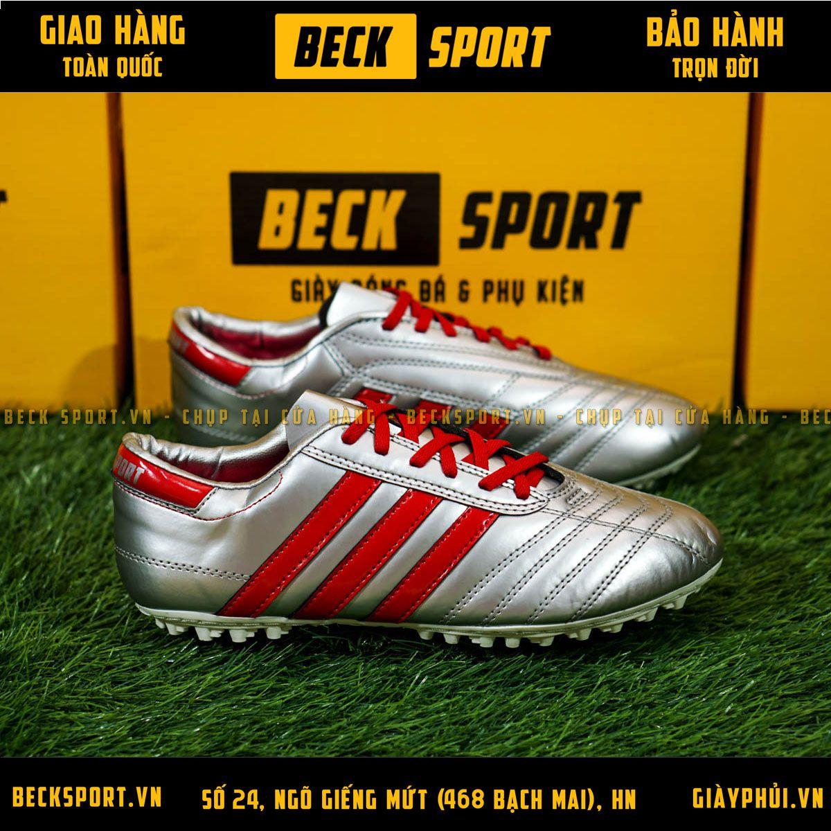 Giày Phủi 3 Sọc Loại 1 - Beck Bạc Sọc Đỏ