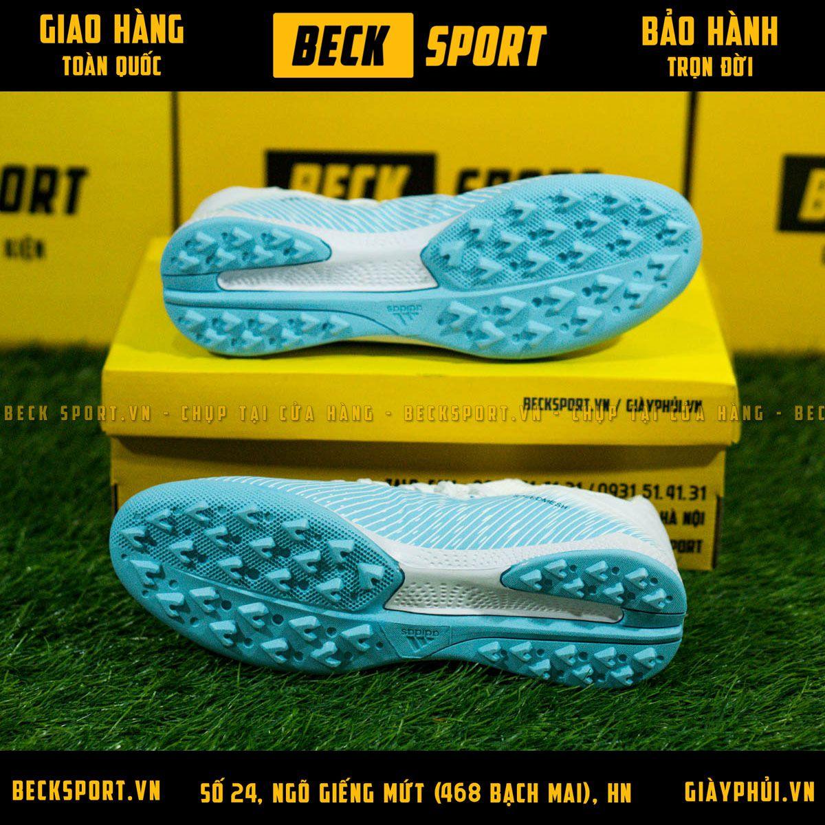 Giày Bóng Đá Adidas X 19.3 Xanh Biển Gót Trắng Vạch Đen V2 TF