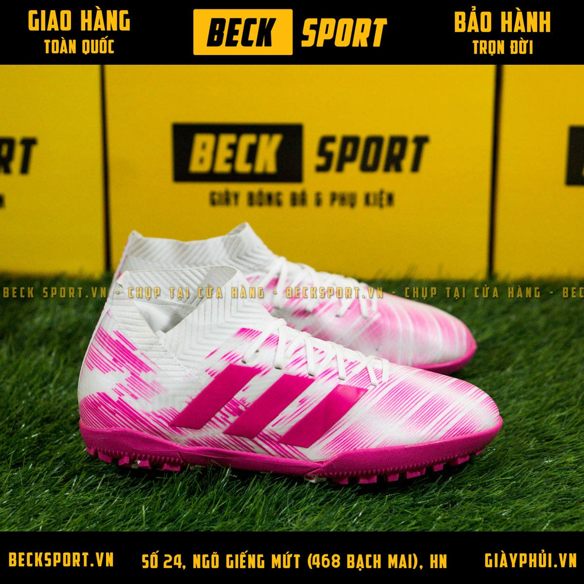 Giày Bóng Đá Adidas Nemeziz 18.3 Trắng Vạch Hồng Đế Hồng Cổ Chéo TF
