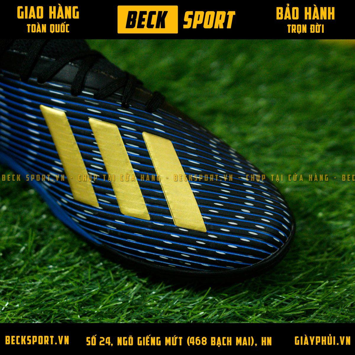 Giày Bóng Đá Adidas X 19.3 Xanh Biển Vạch Đồng V2 TF