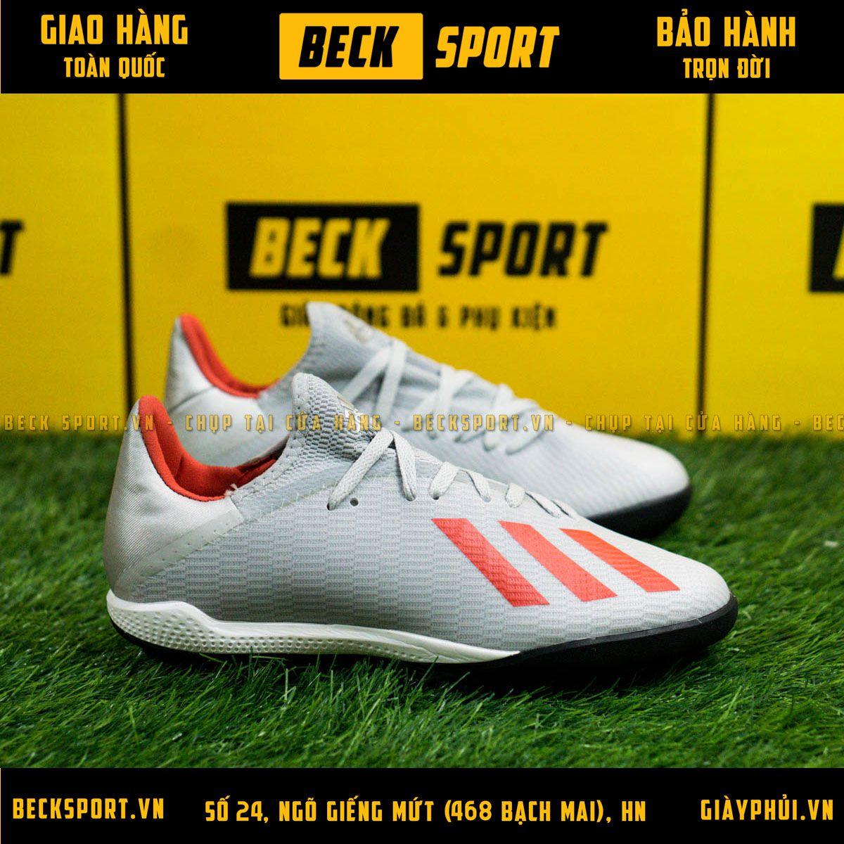 Giày Bóng Đá Adidas X 19.3 Xám Vạch Đỏ HQ TF