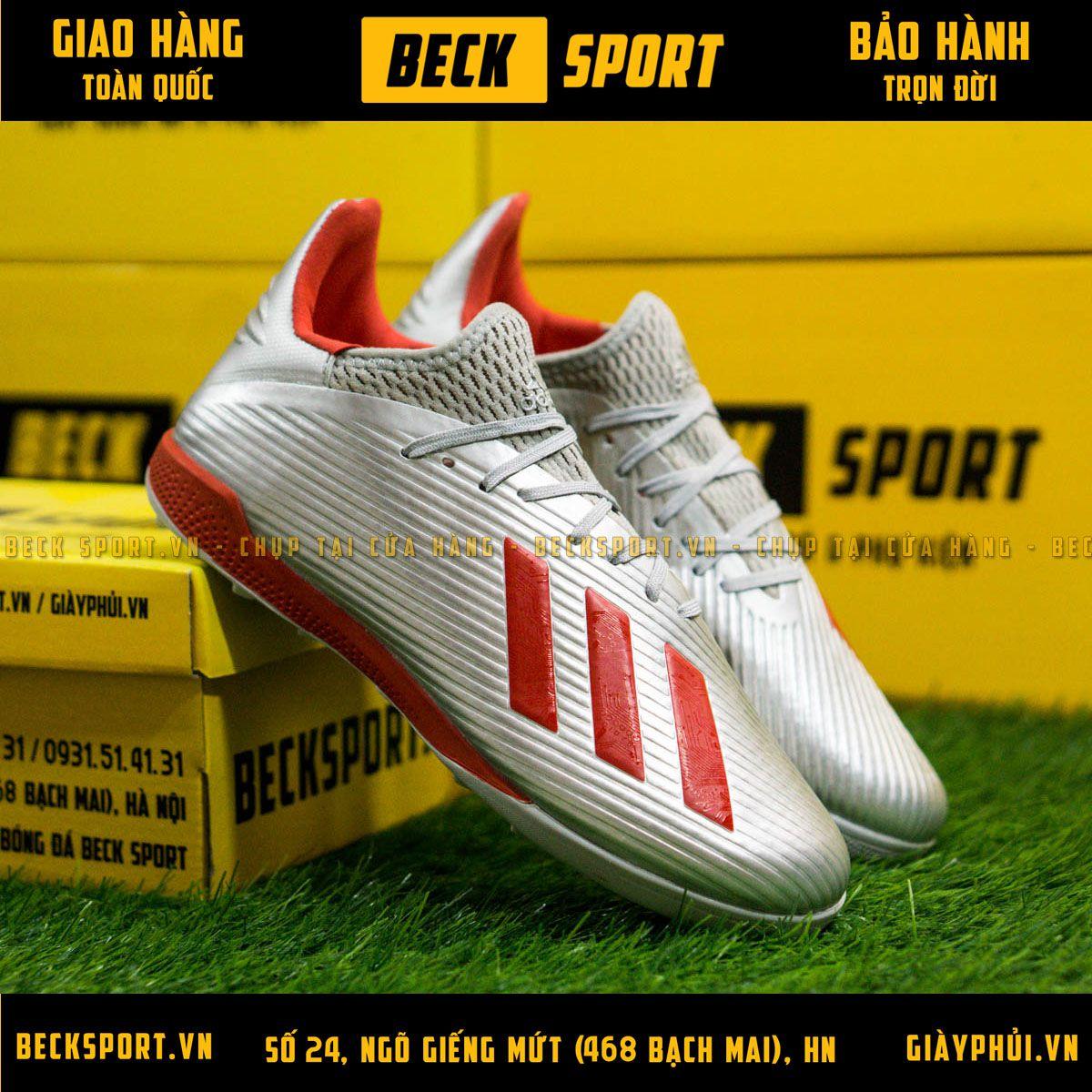 Giày Bóng Đá Adidas X 19.3 Xám Vạch Đỏ Đế Đỏ V2 TF