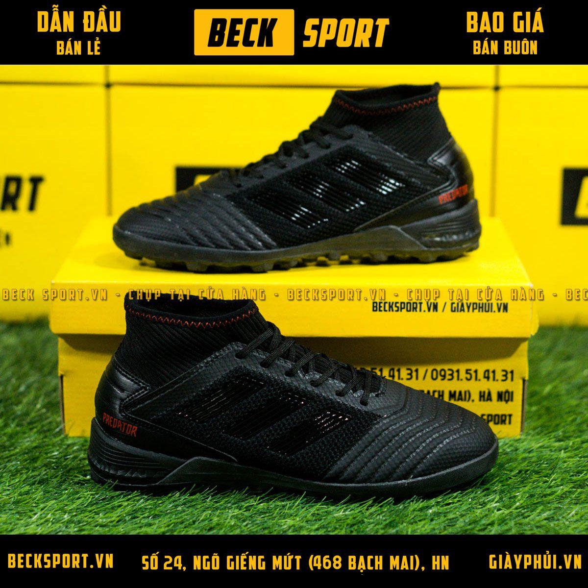 Giày Bóng Đá Trẻ Em Adidas Predator 19.3 Đen Tuyền Đế Boost Cao Cổ TF