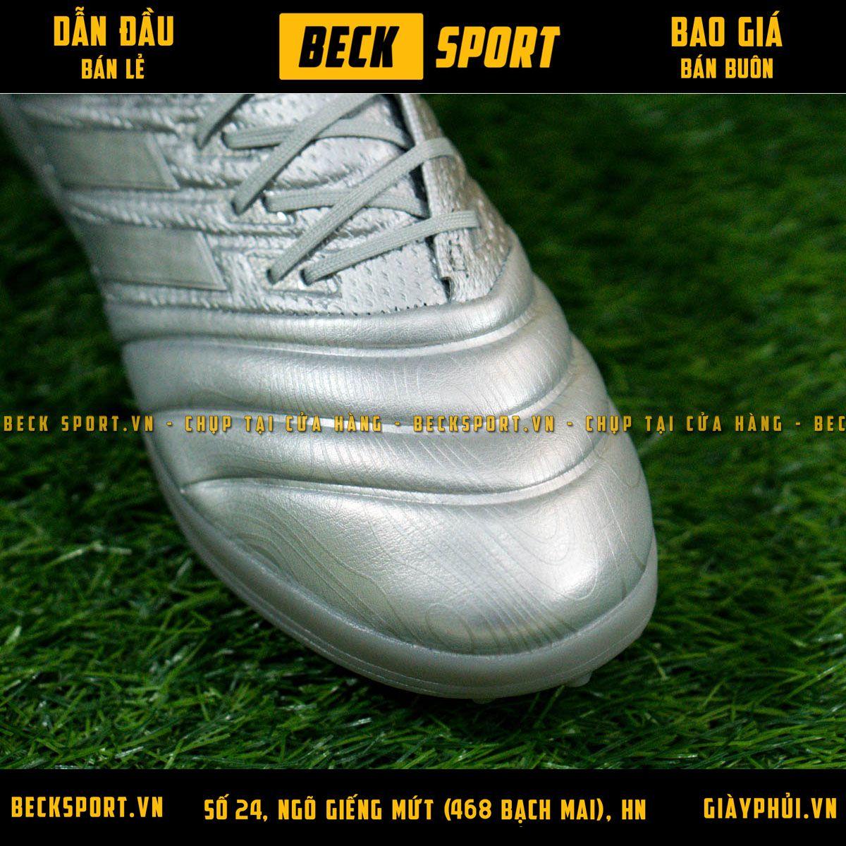 Giày Bóng Đá Adidas Copa 20.1 Xám Vạch Bạc Da Thật TF