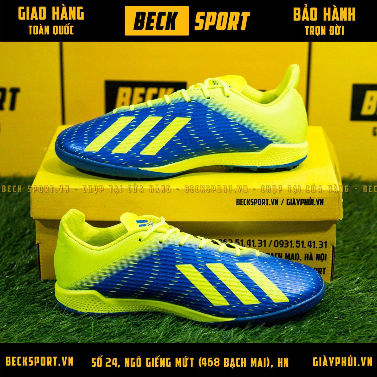 Giày Bóng Đá Adidas X 19.3 Xanh Biển Vạch Chuối Gót Chuối V3 TF