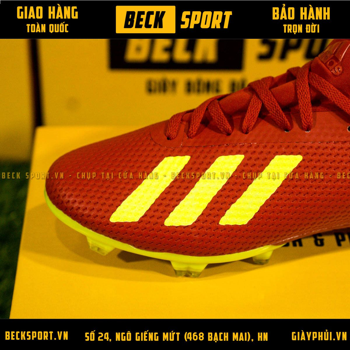 Giày Bóng Đá Adidas 18.3 Đỏ Vạch Chuối FG