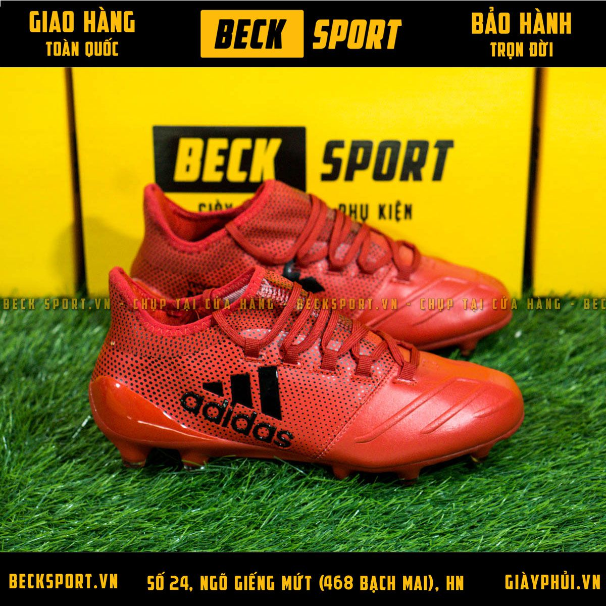 Giày Bóng Đá TQ Adidas X 17.1 Đỏ Chấm Bi Đen Da Thật FG