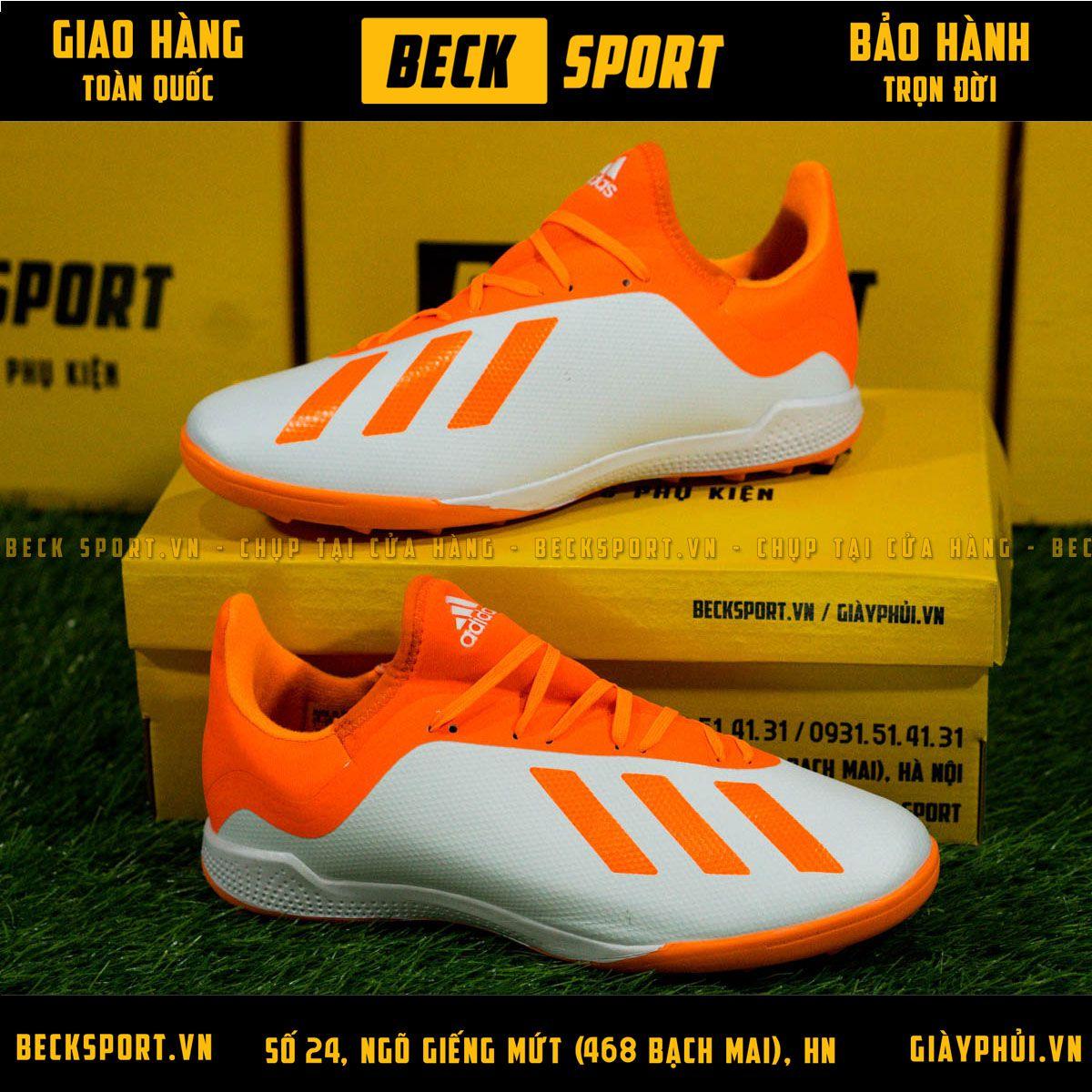 Giày Bóng Đá Adidas X 18.3 Trắng Vạch Cam Cổ Cam TF