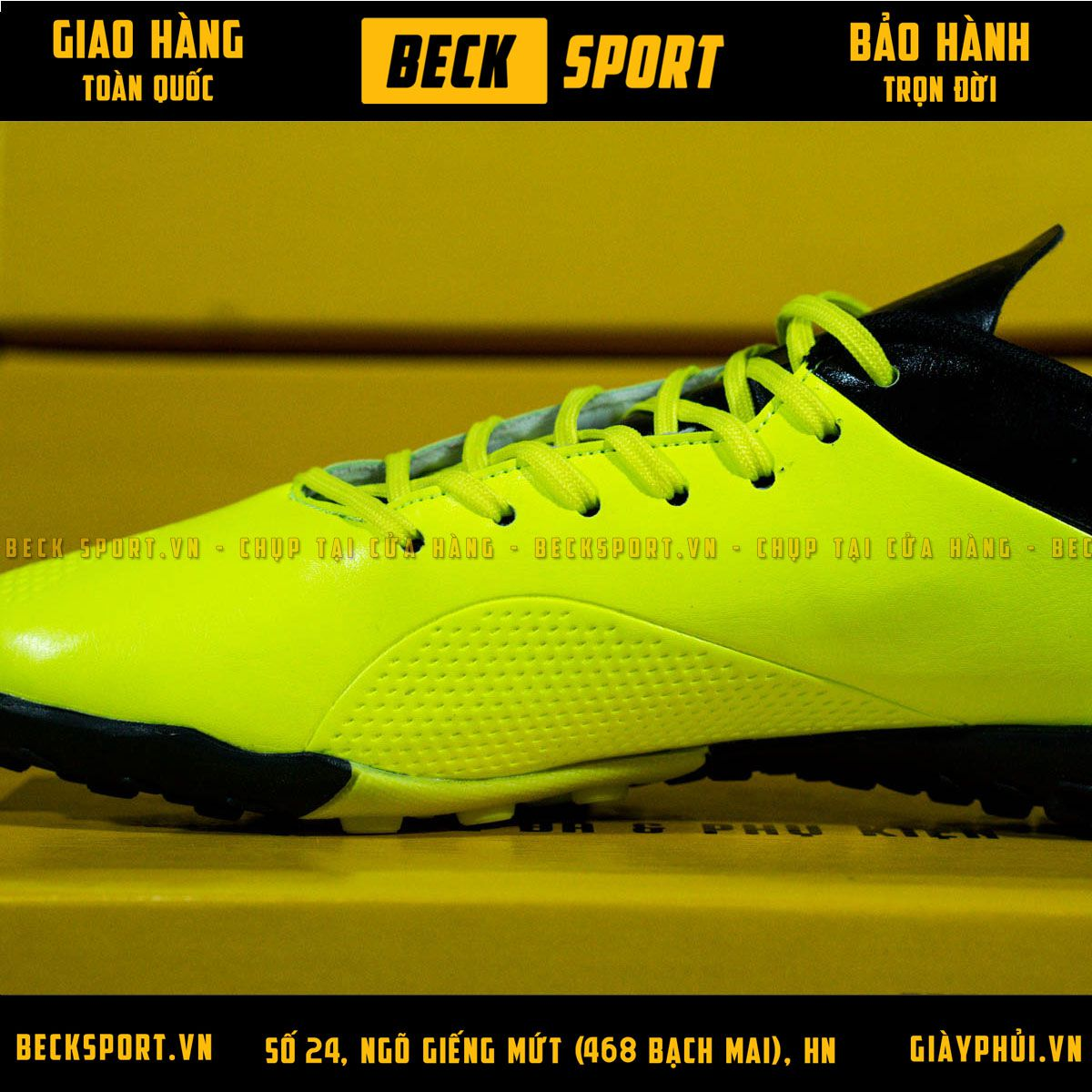 Giày Bóng Đá Adidas X 18.4 Nõn Chuối Vạch Đen Cổ Đen TF