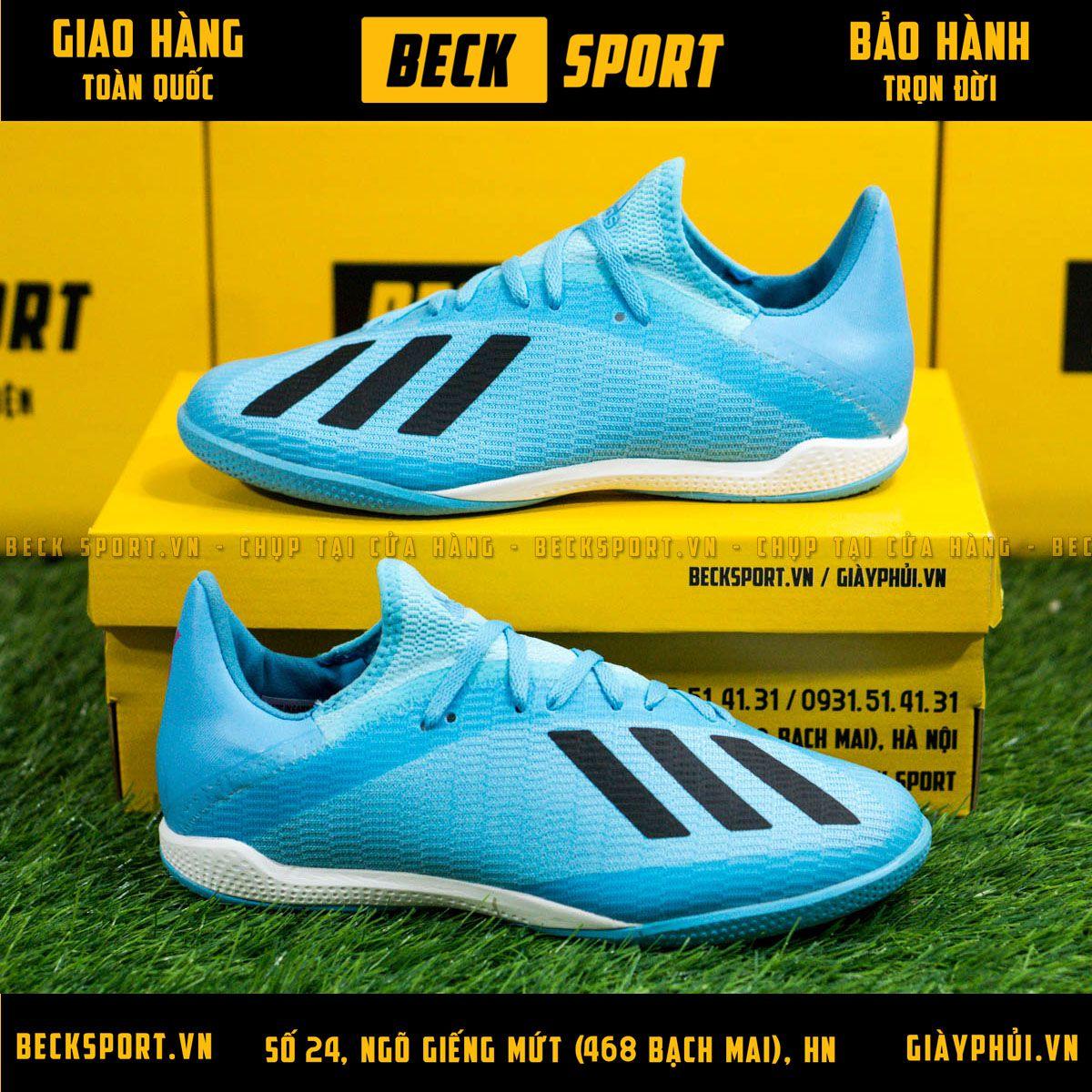 Giày Bóng Đá Adidas X 19.3 Xanh Biển Vạch Đen Đế Xanh IC