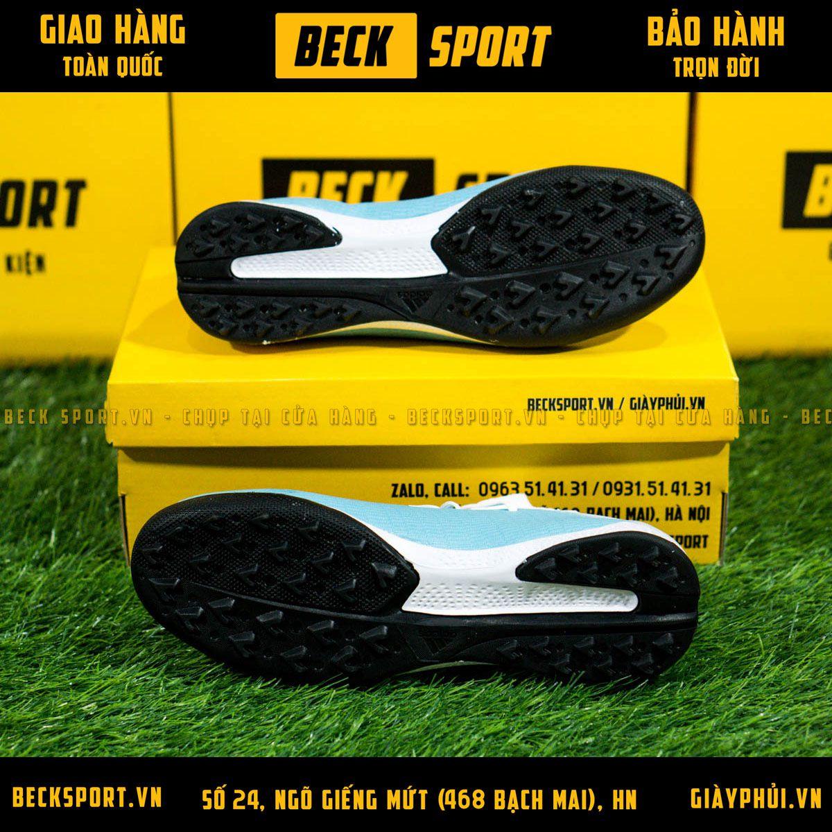 Giày Bóng Đá Adidas X 19.3 Xanh Biển Vạch Đen Gót Trắng TF