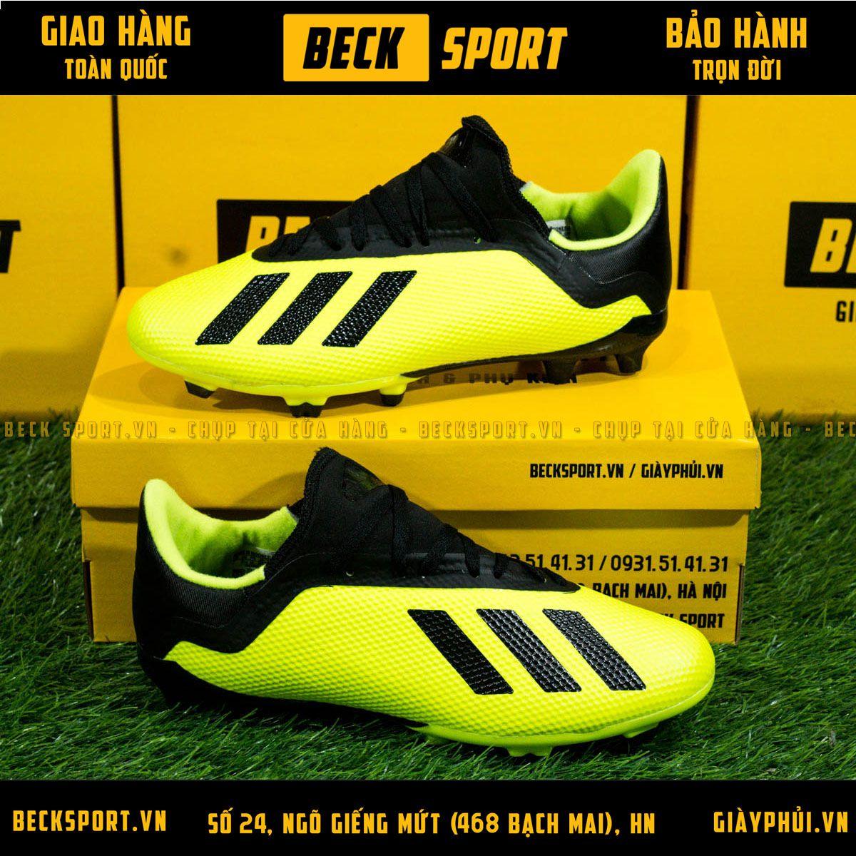 Giày Bóng Đá Adidas X 18.3 Nõn Chuối Vạch Đen Cổ Đen FG