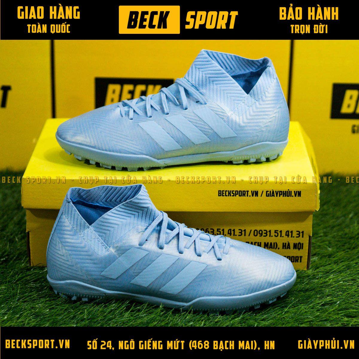 Giày Bóng Đá Adidas Nemeziz 18.3 Xanh Ngọc Cổ Chéo V2 TF
