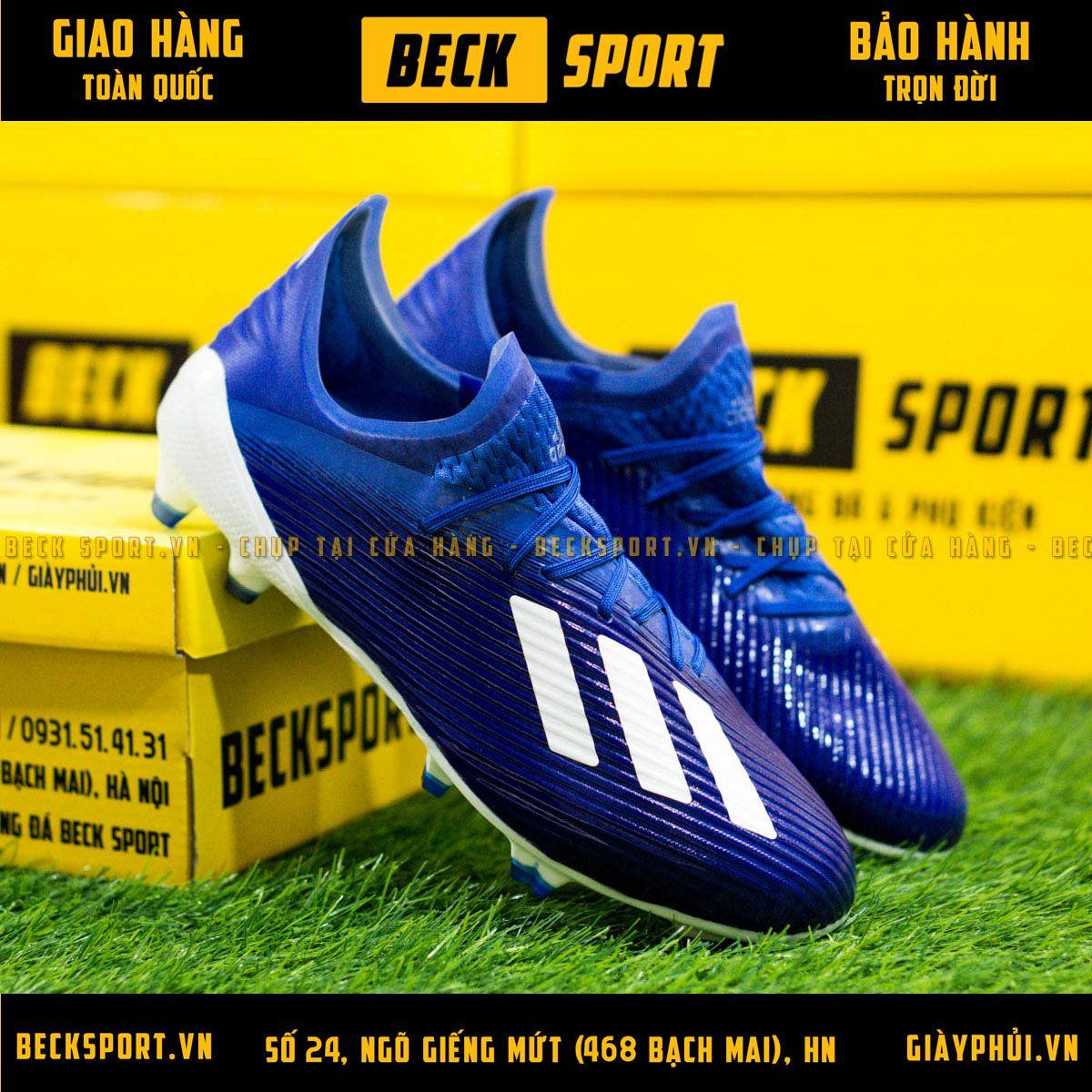 Giày Bóng Đá Adidas X 19.1 Xanh Biển Vạch Trắng Đế Trắng FG