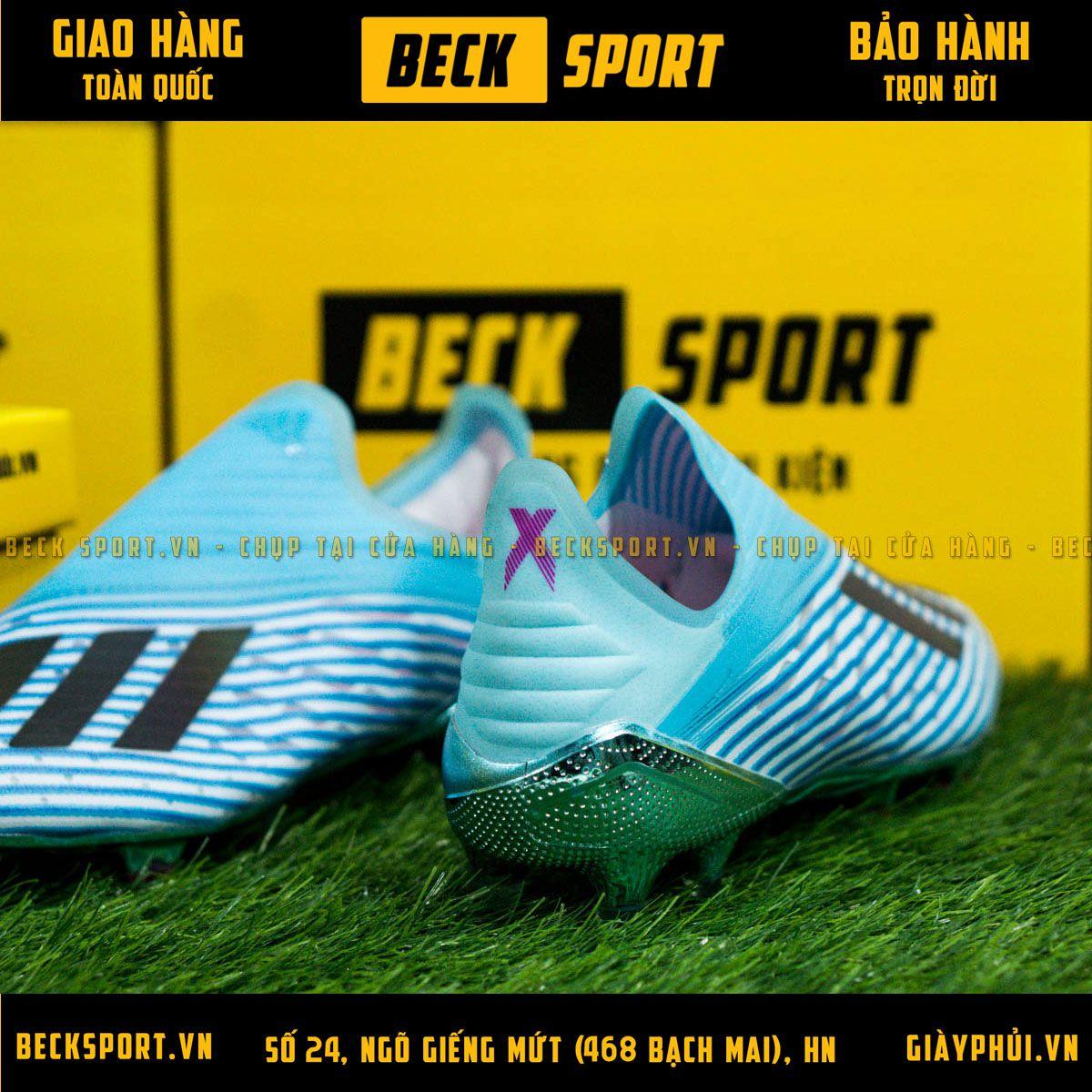 Giày Bóng Đá Adidas X 19+ Xanh Ngọc Vạch Đen Không Dây FG