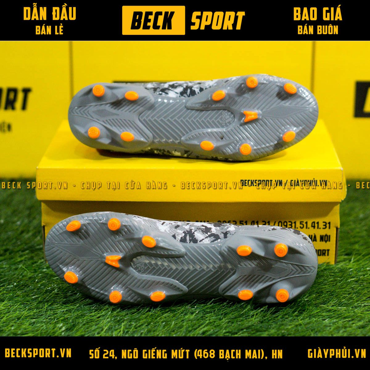 Giày Bóng Đá Adidas Nemeziz 19.3 Xám Đen Vạch Cam FG