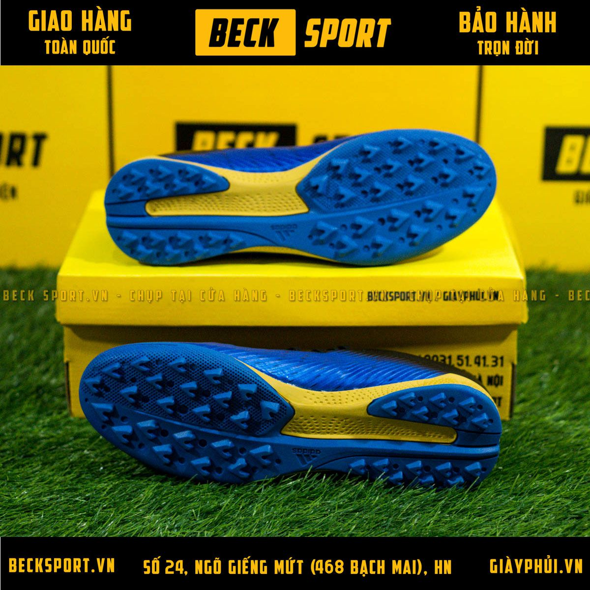 Giày Bóng Đá Adidas X 19.3 Xanh Biển Vạch Đồng Gót Đen V3 TF