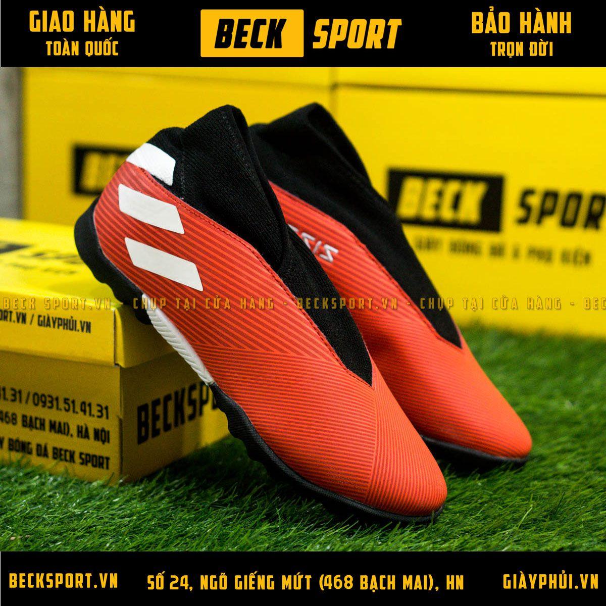 Giày Bóng Đá Adidas Nemeziz 19.3 Laceless Đỏ Vạch Trắng Không Dây TF