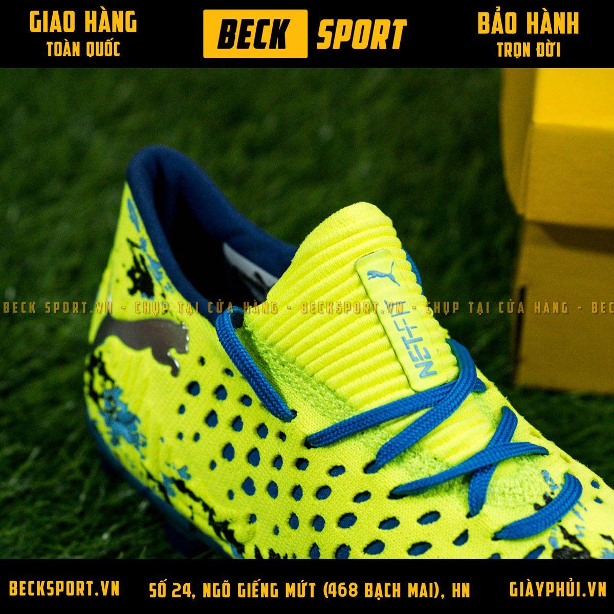 Giày Bóng Đá Puma Future 19.1 Nõn Chuối Đế Xanh Biển Cổ Chun FG