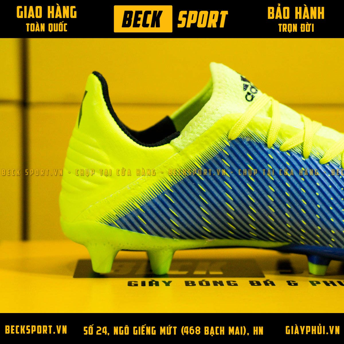 Giày Bóng Đá Adidas X 19.3 Xanh Biển Vạch Chuối Gót Chuối FG