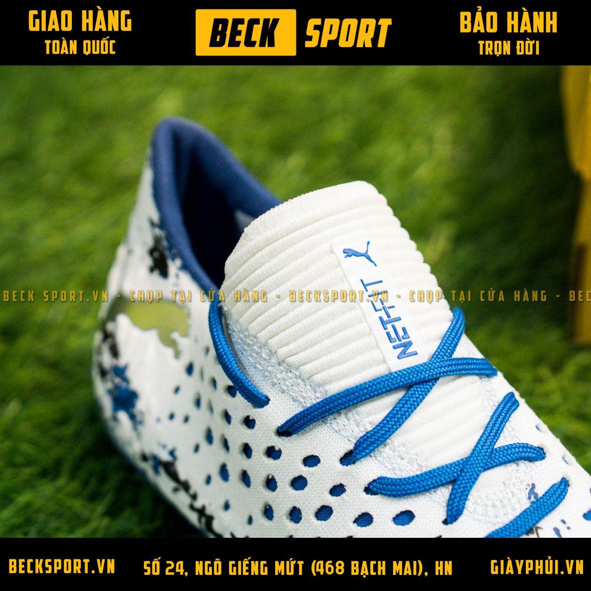 Giày Bóng Đá Puma Future 19.1 Trắng Đế Xanh Biển Cổ Chun FG