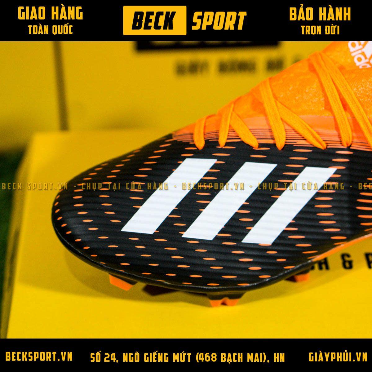 Giày Bóng Đá Adidas X 19.3 Đen Vạch Trắng Gót Cam FG