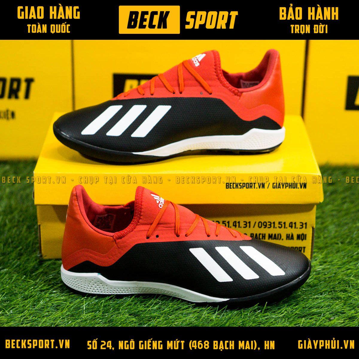 Giày Bóng Đá Adidas X  Tango 18.3 Đen Đỏ Vạch Trắng TF