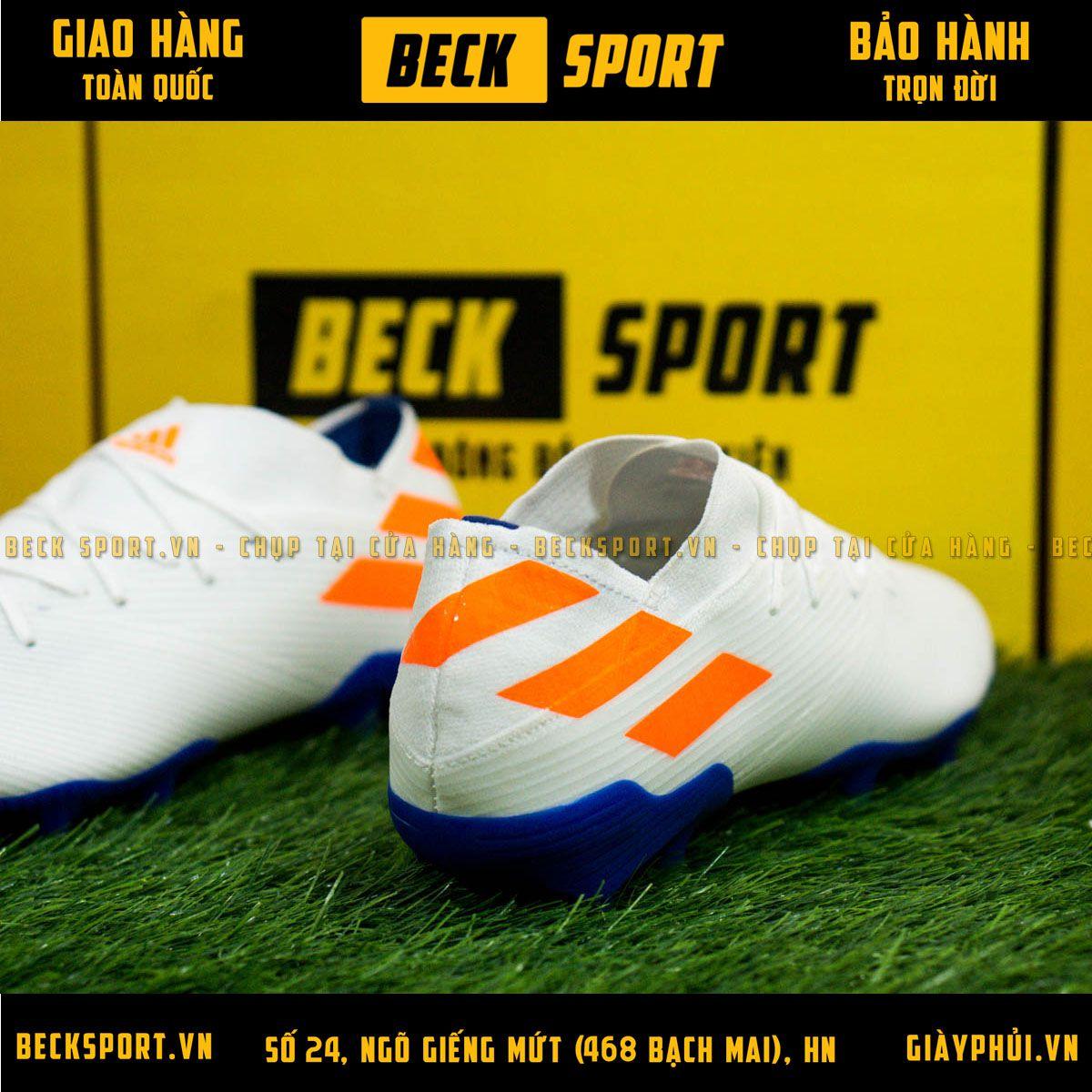 Giày Bóng Đá Adidas Nemeziz 19.1 Trắng Vạch Cam FG