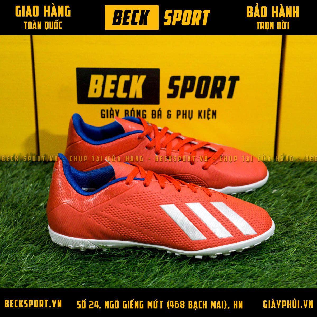 Giày Bóng Đá Adidas X 18.4 Đỏ Vạch Bạc Đế Trắng TF