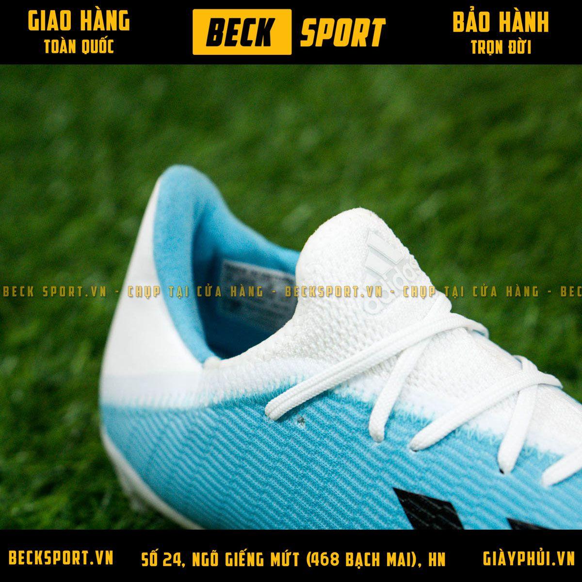 Giày Bóng Đá Adidas X 19.3 Xanh Biển Vạch Đen Gót Trắng FG