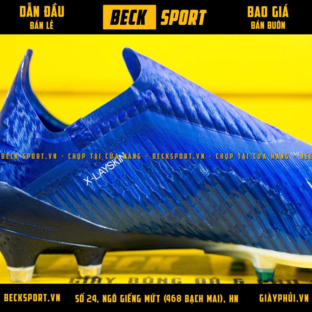 Giày Bóng Đá Adidas X 19+ Xanh Biển Vạch Trắng Không Dây FG