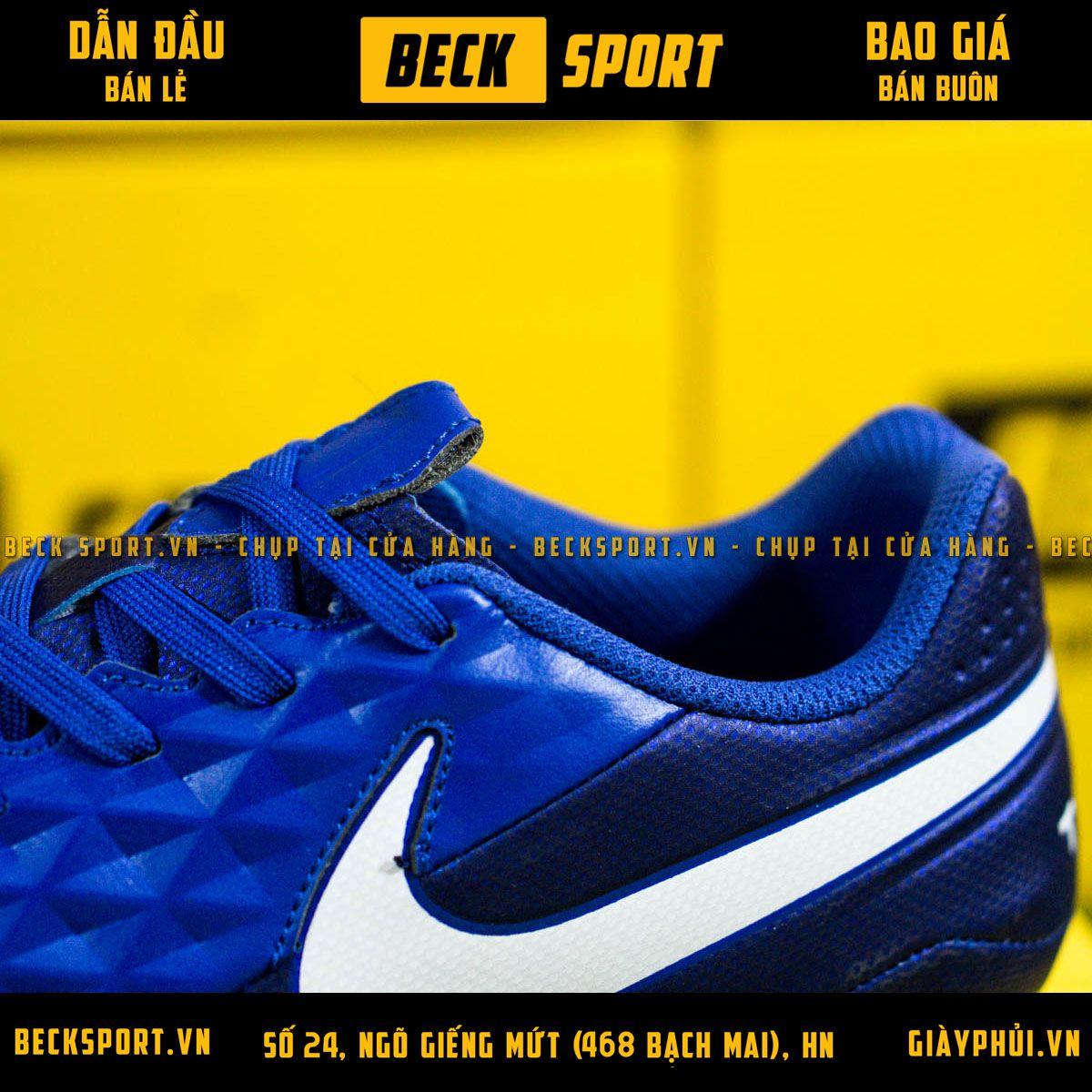 Giày Bóng Đá Nike Tiempo 8 Academy Xanh Biển Vạch Trắng AG