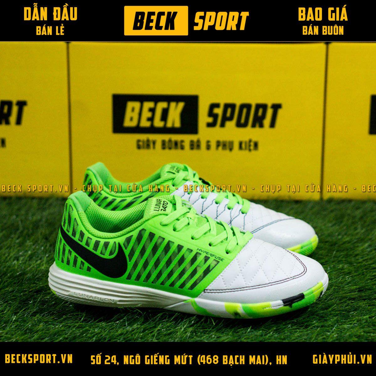 Giày Bóng Đá Nike Lunar Gato II Trắng Gót Xanh Lá Đế Rằn Ri IC