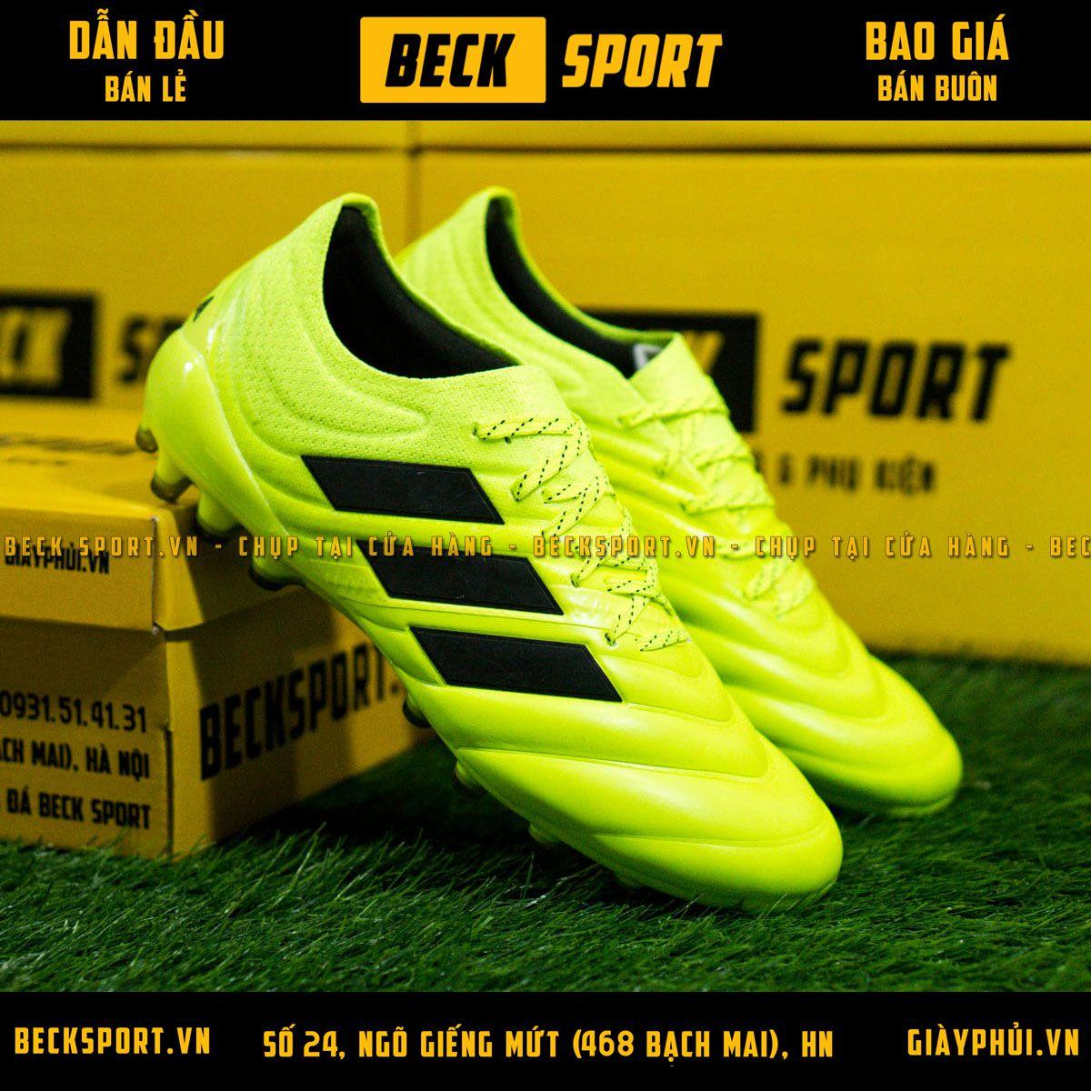 Giày Bóng Đá Adidas Copa 19.1 Nõn Chuối Vạch Đen Da Thật AG
