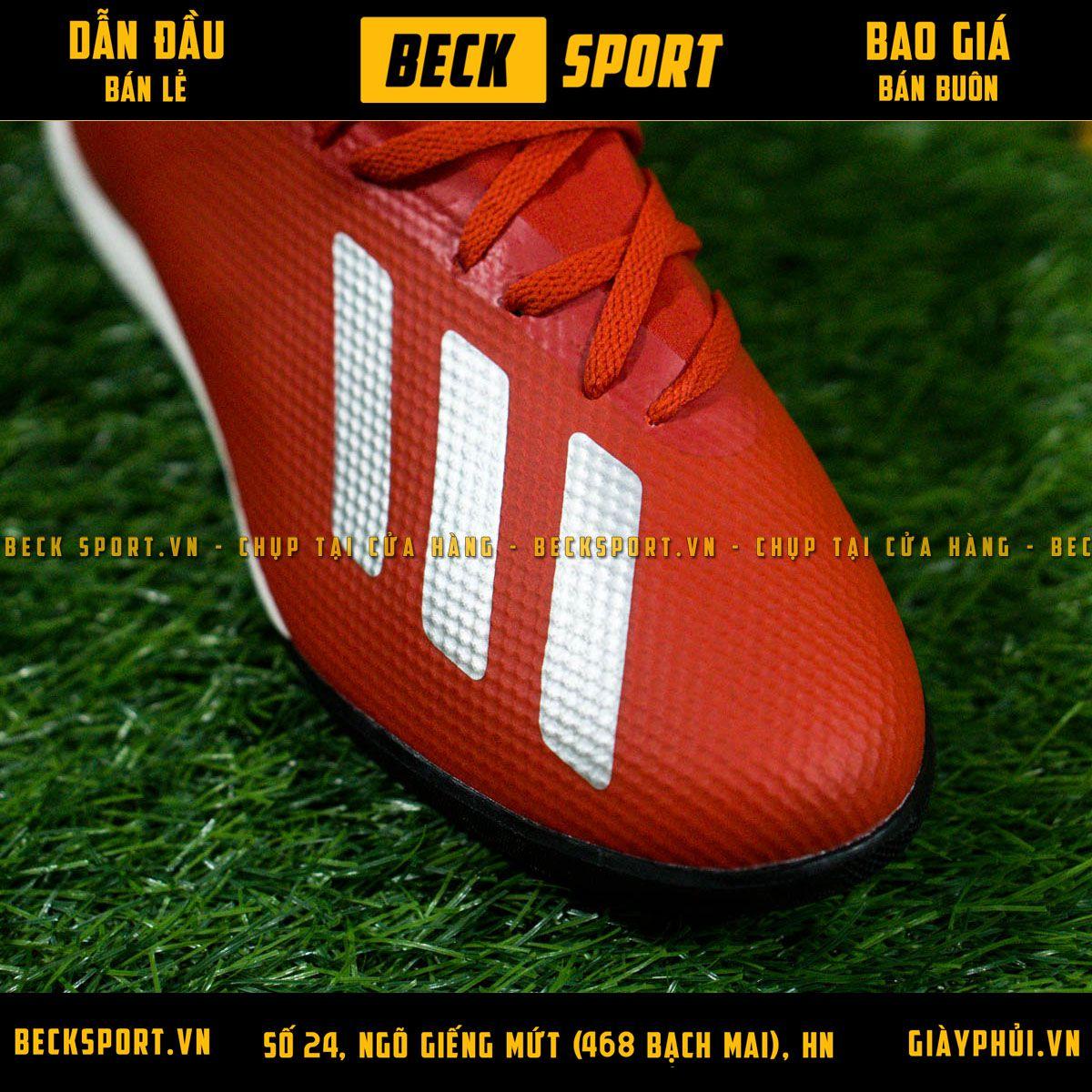 Giày Bóng Đá Adidas X 18.3 Đỏ Vạch Bạc Đế Đen HQ TF