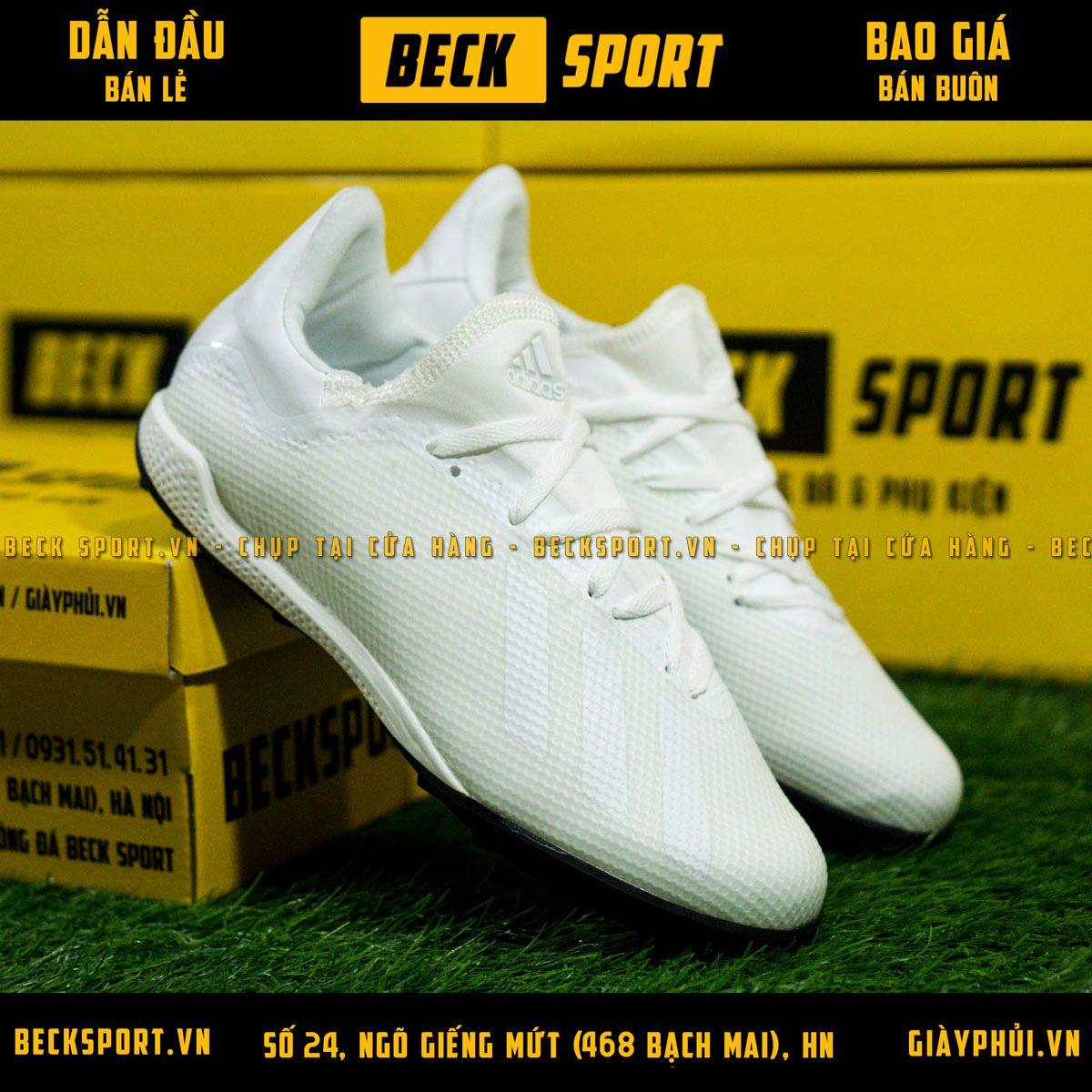 Giày Bóng Đá Adidas X 18.3 Trắng Tuyền Đế Đen HQ TF