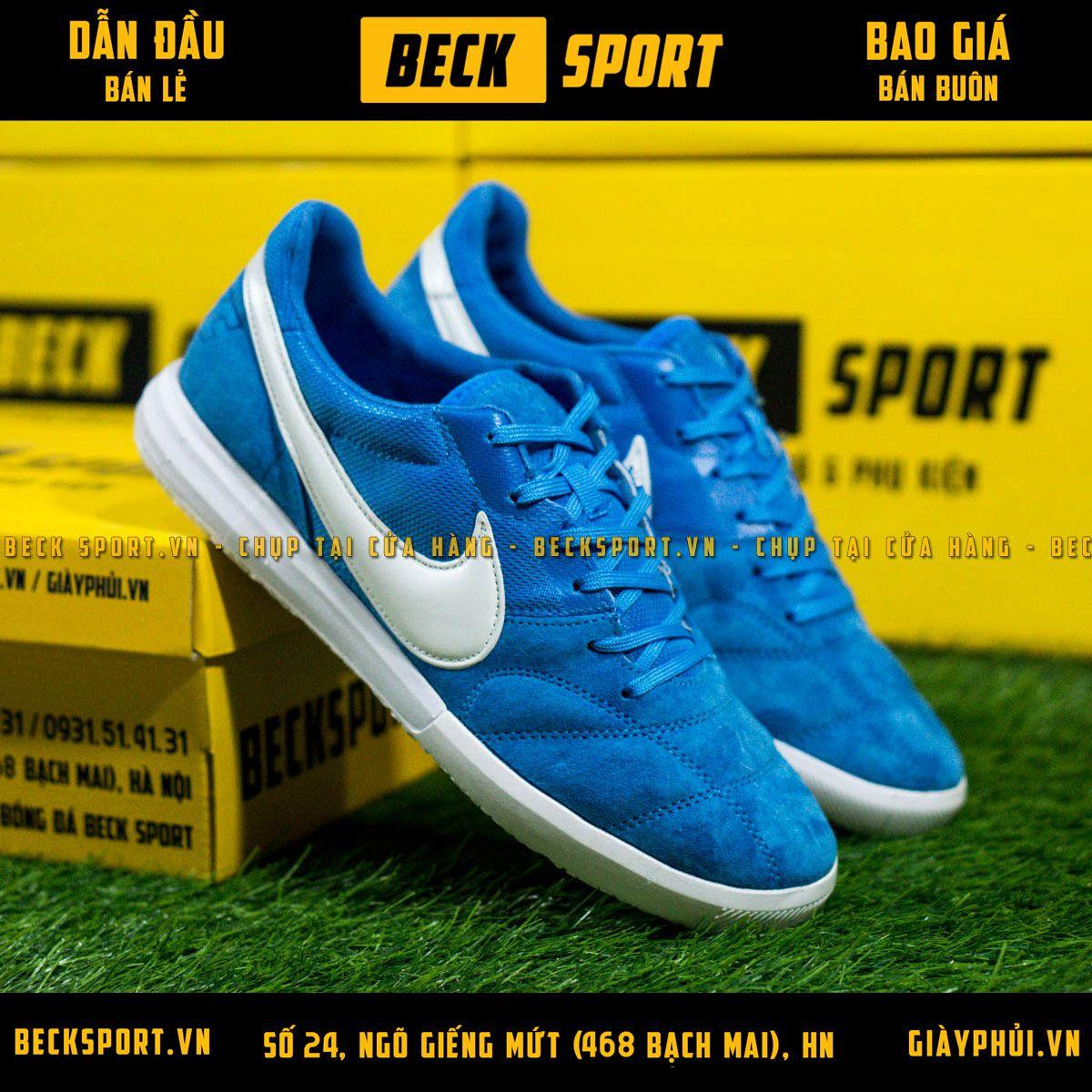 Giày Bóng Đá Nike Premier II Sala Xanh Biển Vạch Trắng IC