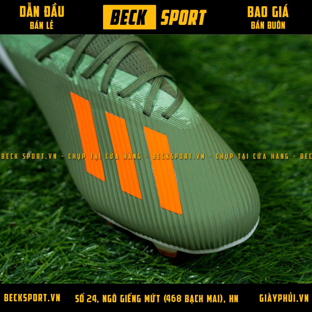 Giày Bóng Đá Adidas X 19.1 Xanh Rêu Vạch Cam FG