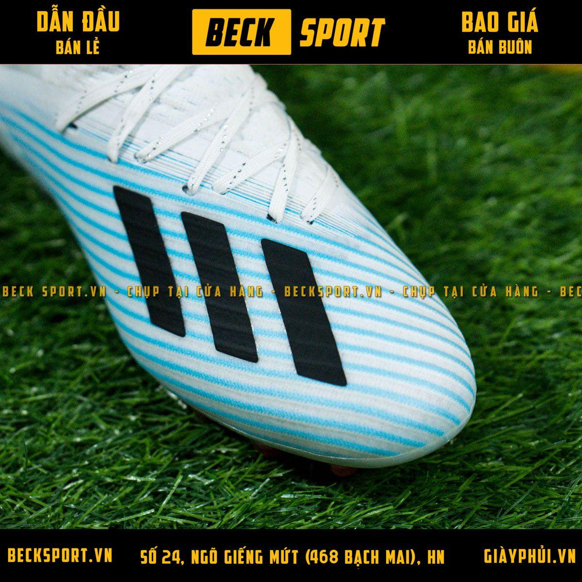Giày Bóng Đá Adidas X 19.1 Xanh Biển Vạch Đen Gót Trắng AG