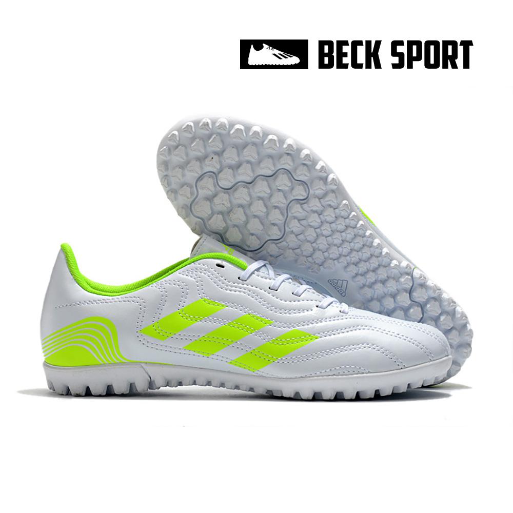 Giày Bóng Đá Adidas Copa Sense.4 Trắng Vạch Xanh Lá TF