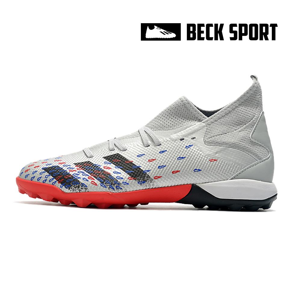 Giày Bóng Đá Adidas Predator Freak .3 EURO Xám Vạch Đen Cổ Cao TF