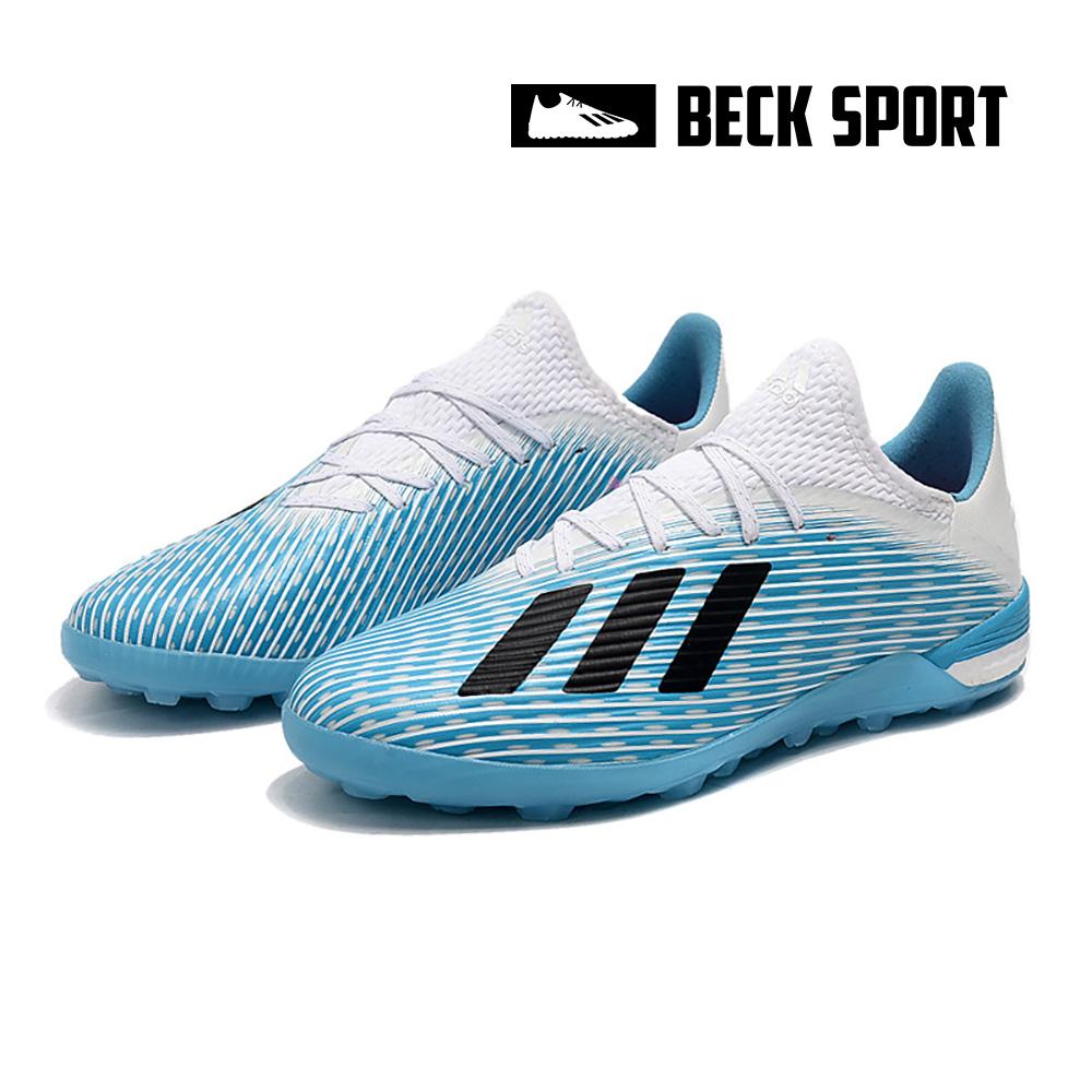Giày Bóng Đá Trẻ Em Adidas X 19.1 Xanh Biển Vạch Đen Gót Trắng TF