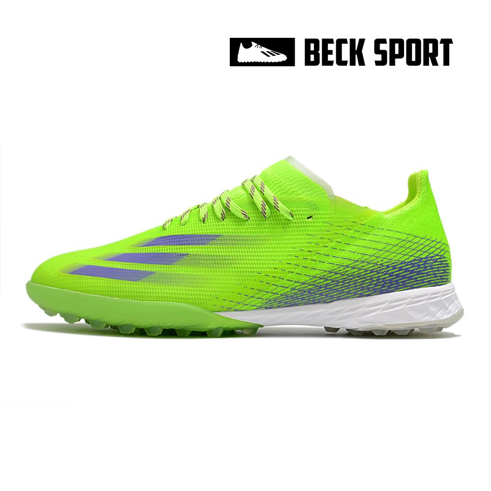 Giày Bóng Đá Adidas X Ghosted.1 Xanh Lá Vạch Tím V2 TF